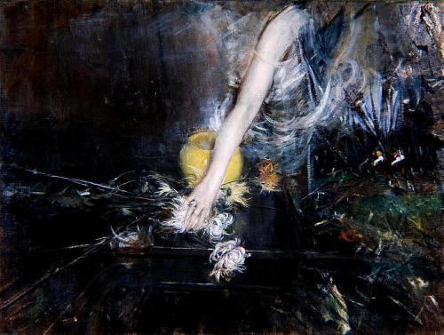 Giovanni Boldini- Arm with Vase of Flowers (1910)