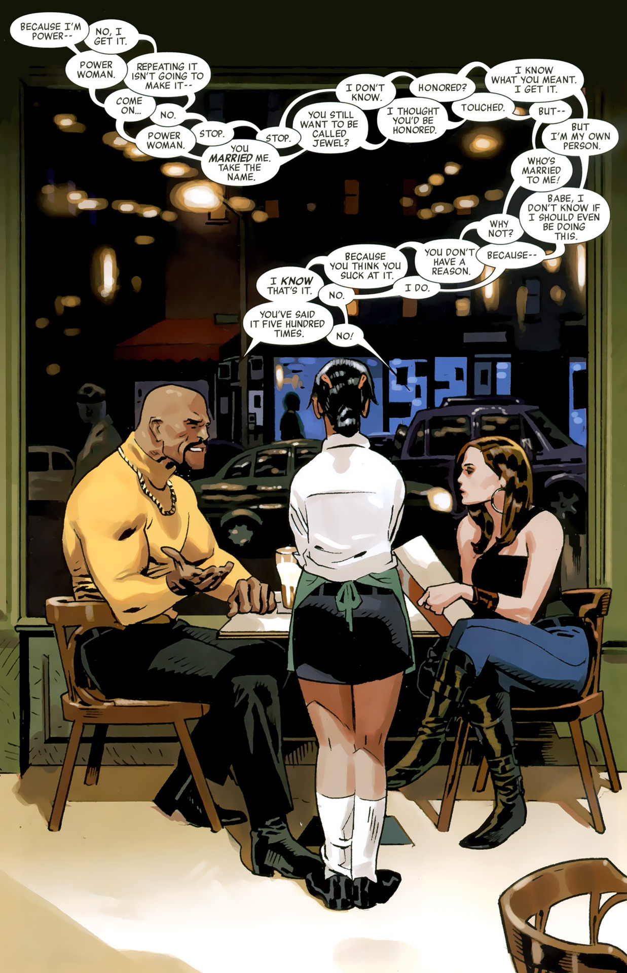 adventurecomics:  Jessica Jones and Luke Cage discuss superhero names.