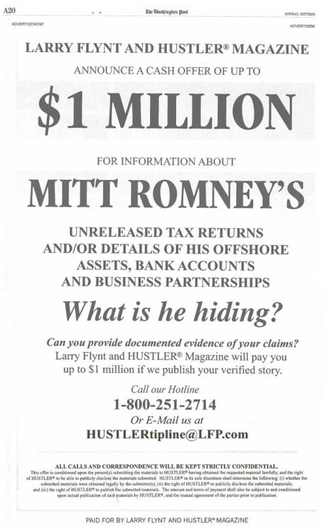 The Wanted Poster Larry Flynt put out for Mitt Romney's Unreleased Tax Returns!