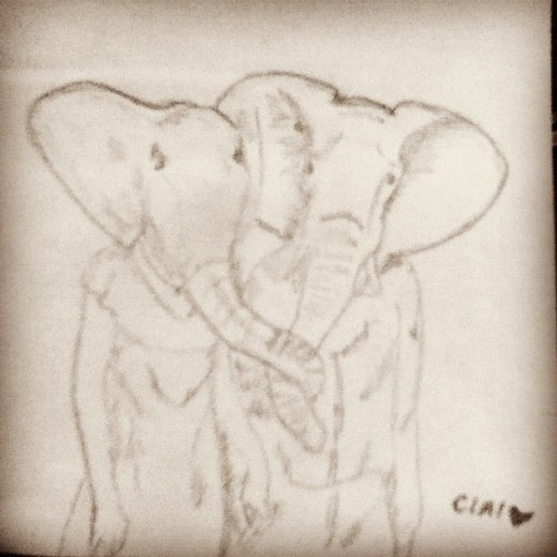 Lovers. #clai #elepante #sketch  (Taken with Instagram)