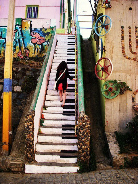 Piano Stairs @ Valparai­so, Chile  http://www.facebook.com/OFFmagazine and http://offmag.blogspot.com.es/ and http://pinterest.com/offmagazine/ and https://twitter.com/offmagacine