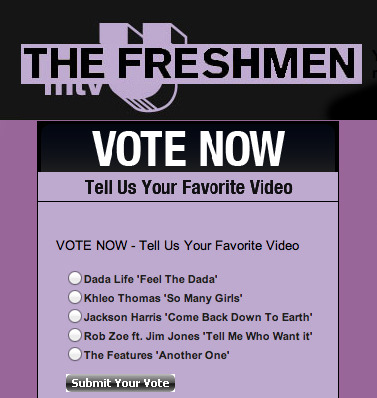 "Big news! I'm featured this week in mtvU's Freshman 5! Please take a second and vote for ""Come Back Down To Earth""!  Click HERE."