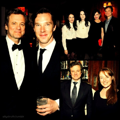 HAPPY BIRTHDAY COLIN! Colin Firth with Sherlock (Benedict Cumberbatch) and some lovely ladies from Downton. I added Colin and Jennifer Ehle (Pride & Prejudice) in this one just because I love them both.