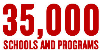 Exciting news! There are now 35,000 schools and programs serving kids in need in the First Book network. That's 35,000 classrooms, libraries, church groups, afterschool programs, homeless shelters, military programs and daycare centers; all with permanent, ongoing access to a steady stream of brand-new, high-quality books.  Sign up your program or school to receive books from First Book.