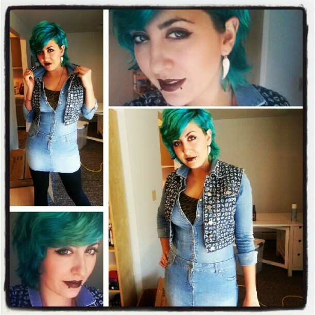 Denim on denim + Dark lip = Super ready for fall!!! (Taken with Instagram)