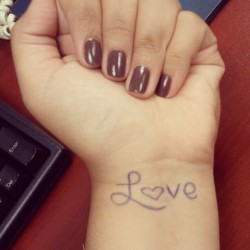 "Today is World Suicide Prevention Day… Write love on your wrist LOVE ""if you want to spread word"" (people ask why you have that and you tell em) and/or in memory of anyone who youve lost due to suicide #suicideawareness #love (Taken with Instagram)"