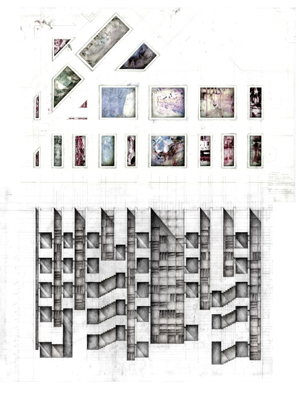 drawingarchitecture:  The Garden of Collective Memories Sarah Kia 2012. Graphite and photo transfer on vellum, 18 x 24 inches.