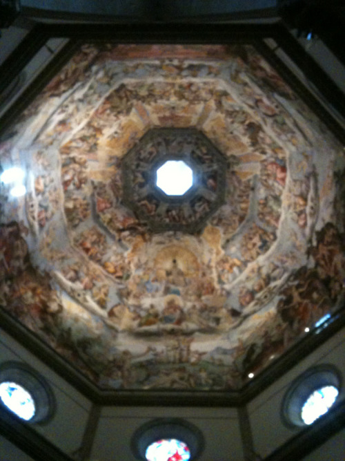 The ceiling of the dome in the Duomo, Florence, Italy.