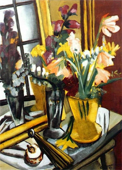 alongtimealone:  Floral still life with mirror, 1927 Max Beckmann (by BoFransson)