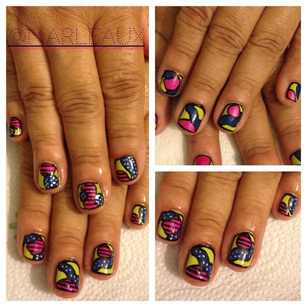 #nailart A lil freestyle number. I started to stop at color-blocking, but then I took it to the next level with some pattern-blocking. #opi Did It On Em #essie Mesmerize #chinaglaze Purple Panic #colorblocking #shortnails #nailartohlala #nails2inspire (Taken with Instagram)