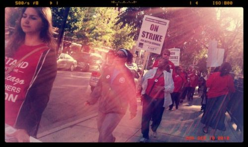 "thepeoplesrecord:  Four reason why Chicago teachers are on strikeSeptember 10, 2012 Across mainstream media and through the megaphone of city government, Chicago public school teachers have been consistently demonized and criticized for everything from self-serving greed, to negligence of their duties, and lack of care and respect for students. Mayor Emanuel and his hand-picked school board—stacked with millionaires and former charter administrators—along with CPS CEO Jean-Claude Brizard, have continued to use their dominion over the school system to apply a corporate model of school reform to the Chicago Public Schools. This type of ""reform"" has allowed private operators to take control of public schools, undermine the teachers union, close and turn around neighborhood schools rather than invest in them, and over-test students rather than provide them a comprehensive and nurturing education. Meanwhile the Chicago Teachers Union, numbering nearly 30,000 members, is demanding that CPS cease this drift toward putting control of schools in private hands, and provide the necessary conditions for effective and equal public education—putting the needs of students ahead of corporate and government powerbrokers. So what are the teachers fighting for? A better school day: A comprehensive education including not only curricula in math, science and history but also art, music, physical education and foreign languages in all Chicago Public Schools. Wraparound services and adequate staffing to support students in need: This includes counselors, social workers, librarians and school nurses with defined job descriptions as well as preparation and break time. Recall rights for educators and school staff: Hundreds of teachers have already been displaced by school closures across the city and more will be by the planned closing of at least 100 more schools in the coming years. Fair compensation: No merit pay, less reliance on standardized tests and pay commensurate to increased time in the classroom as well as inflation. CPS reneged last year on the contractually obligated 4 percent pay raise negotiated in 2007 and is currently offering annual 2 percent raises over the next four years. An independent fact-finder's report released in July recommended pay raises of 15-18 percent next year. As CTU President Karen Lewis proclaimed to a massive crowd of thousands of teachers and their supporters at a Labor Day rally in Daley Plaza, ""This fight is for the very soul of public education, not only in Chicago but everywhere.""There are of course many other points of contention in negotiations, but these demands represent the core reasons that 98 percent of the CTU membership voted to authorize a strike. They represent the contours of a larger struggle against the neoliberal model of corporatized education being pushed by Emanuel, Brizard, Secretary of Education Arne Duncan and their ilk. The American Federation of Teachers—the nation's 1.5 million-member education labor union, which has been complicit in corporate education ""reform"" in the past—has come out with a statement of support for Chicago teachers. President Randi Weingarten says: ""Chicago's teachers want what is best for their students and for Chicago's public schools… The AFT and its members stand with the CTU."" Source We stand in solidarity with Chicago & other  struggling teachers! They are some of the most important workers we have.   Three things aren't corporations and should never be expected to operate ""at a profit"":  schools, nations, and families. And also, keeping kids in school to ""prevent violence"" is blaming the victim.  Kids do not need ""benevolent incarceration"" because the city of Chicago can't control its citizens."