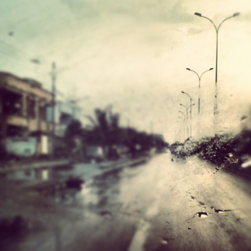 Soaked. #Karachi #road #rain  (Taken with Instagram)