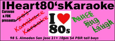 #IHEART80'SKARAOKE tonight @ Caravan SJ Kamikaze style. You sign up but get picked an 80's song at random. Plus 80's Trivia. Dance Sing Laugh. What Songs should make the kamikaze list?   Follow us on twitter @TheJimmyJams and get the play by play.