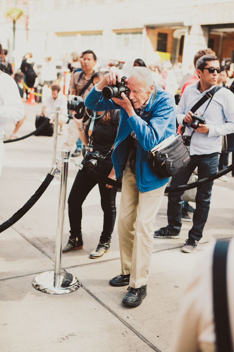 Bill Cunningham outside the Theory show.