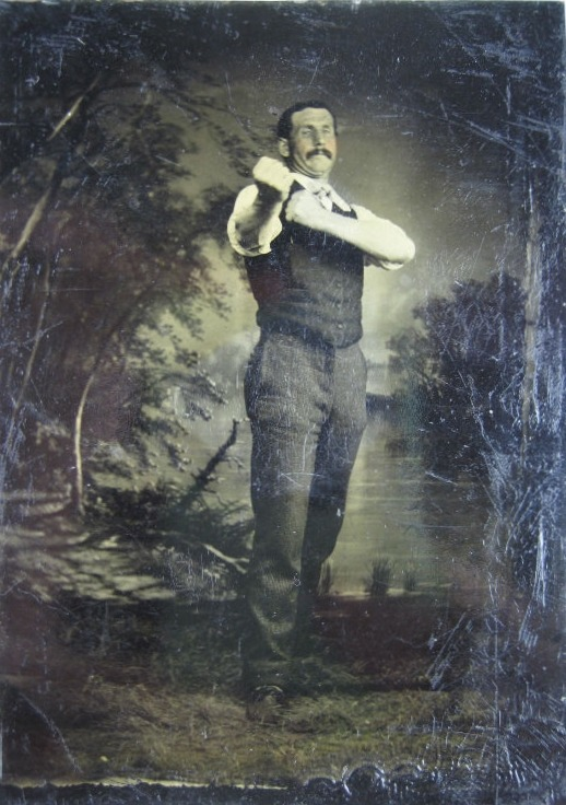 Pugilist in shirtsleeves, 1860s