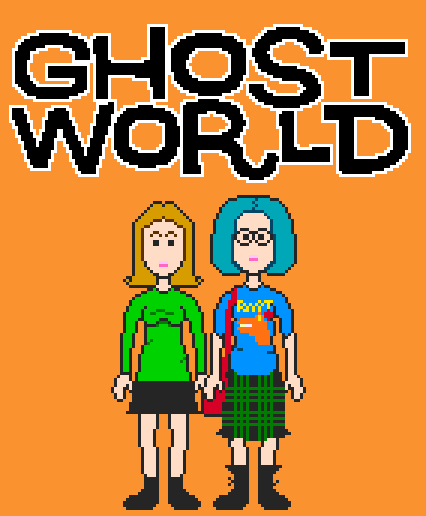 Pixel Ghost World shirts now on sale at the VGJunk store! If you like Ghost World and you also like shirts then this has you covered. As always, they're available in a variety of colours and styles and whatnot.