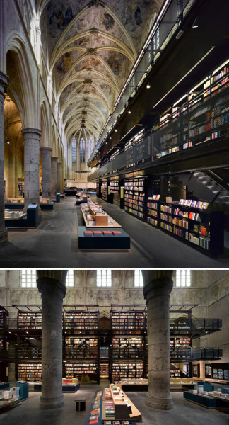 UNUSED SPACES REPURPOSED INTO BOOKSTORES! YES. THIS IS WAY TOO COOL. WE'RE HOPING LA CAN JUMP ON THIS BANDWAGON! This is Selexyz Bookstore, a gorgeous converted Dominican church dating back to the 13th century in Maastricht, the Netherlands. But it wasn't just church-to-bookstore: in 1794, it became a parish, and since then it has been a warehouse, an archive, and an enormous place to park your bicycle. Oh yes, and now a bookstore.  via