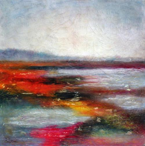 ART: Hood Canal by The Honeycomb Hideout Encaustic Painting 48x48
