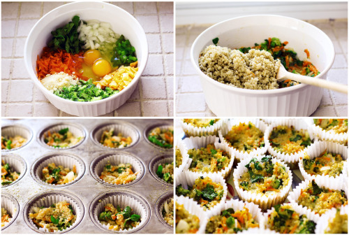 berryhealthy:  quinoa veggie muffins INGREDIENTS 2 cups cooked quinoa (3/4 cup dry) 2 tablespoons fresh parmesan1 cup sliced (or shredded) fat free cheddar 1 cup shredded carrot 1 cup chopped broccoli about half a small onion 2 tablespoons chopped green pepper 1/2 cup chopped spinach (would have added more but didn't have much!) 2 large eggs2 egg whites seasonings (optional)DIRECTIONS preheat oven to 350 degrees. stir the veggies, cheese & egg together in a big bowl. once that's mixed well add in the cooked quinoa! if you find the mixture to be a little dry maybe add an extra egg. spray a muffin pan or muffin cups if you're using them. spoon the mixture into a pan. i used a big muffin pan and got 18 quinoa muffins but the recipe i roughly went by had a mini pan and made 28 muffins. if you're using a big pan i baked mine for about 25 minutes. the mini ones would take about 15-20 minutes. let cool for around 5 minutes. NUTRITIONAL INFORMATION (roughly per muffin if you make 18 of them) 85 calories, 1.5 grams of fat, 85mg sodium, 13g carbs, & 5g protein. original recipe for mini ham&cheese quinoa muffins