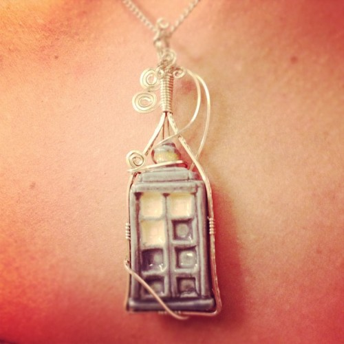 "Wife got an amazing TARDIS necklace for her birthday from her parents. (Taken with Instagram) UPDATE: It was purchased from this Etsy store, and currently is marked as ""sold."""