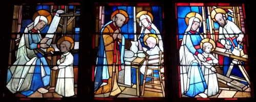 Three scenes from the life of the Holy Family in the Marienbasilika in Kevelaer, Germany.