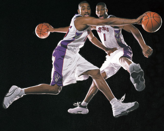 Raptors teammates (and real-life cousins) Tracy McGrady and Vince Carter have some fun during a 1999 SI photo shoot. (Michael O'Neill/SI) GALLERY: The NBA's All-Time Best Dunkers
