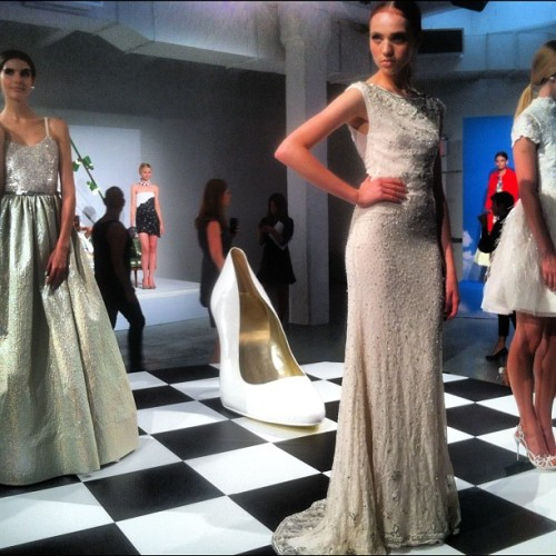 Hellllllo bridal! Love these ivory gowns at @alice_olivia!! #nyfw  (Taken with Instagram)