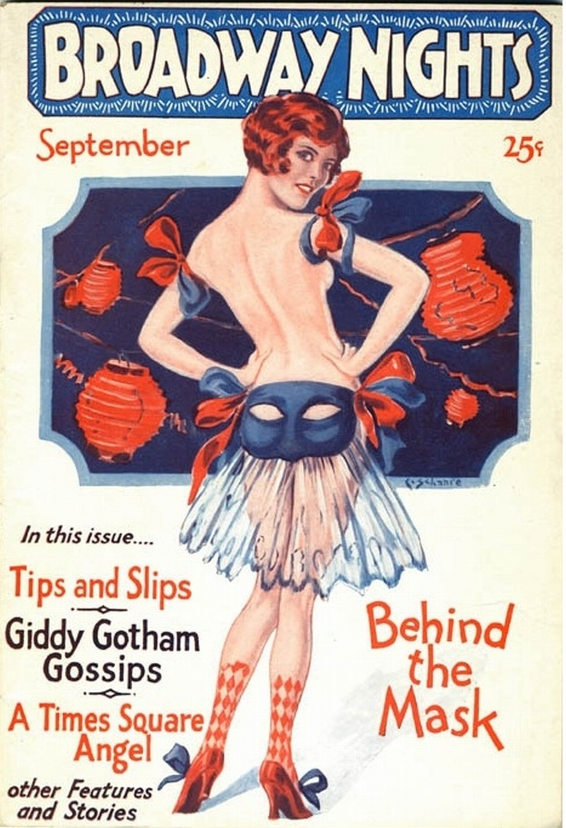 jazzvampire:  Girlie pulp magazine Broadway Nights, September 1930. Nice scan of a 1929 issue here.