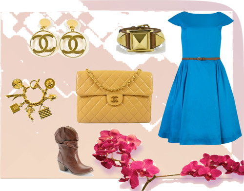 Blue & Gold by madavecouture featuring clover jewelry