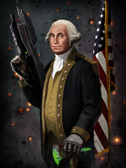 "George Washington was many things, but no one knew about his original role as Master Chief. But now, thanks to artist Jason Heuser, the truth is revealed in his killer new illustration. 11"" x 17"" and 24"" x 36"" prints are currently available to purchase at Jason's epic art store on Etsy. B-B-BONUS: You can use the coupon code ""RAMPAGEDREAL1TY"" to get free shipping, when you purchase two or more prints. Related Rampages: Ronald Reagan Riding a Velociraptor (More) George Washington The Original Master Chief by Jason Heuser (Twitter)"