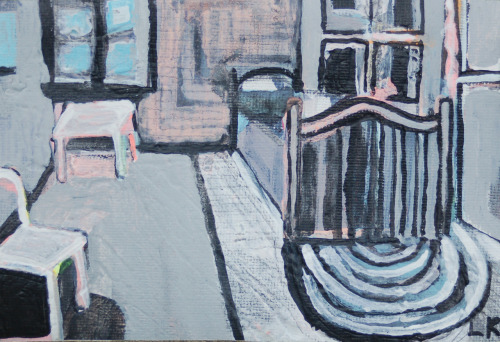 "Lauren Krukowski, Bedroom at Arles (Van Gogh), 4"" x 6"" mixed media on canvas, 2012"