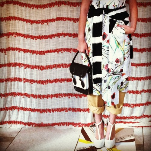 Prints on prints at @chrisbenz - and how great are the CB x Cambridge Satchel Co bags? #amexfashion #nyfw #handbags #shoes  (Taken with Instagram)