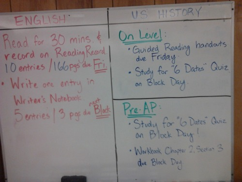 Monday 9-10-12 HW: ELA: Read for 30 Minutes, 10 entries/166 pages on Reading Record due Friday! On-Level History: Guided Reading Handouts due FRIDAY (change from last week); Study for Six Dates Quiz on Block Day! Pre-AP History: Workbook Chapter 2, Section 3 due Block Day; Study for Six Dates Quiz on Block Day!