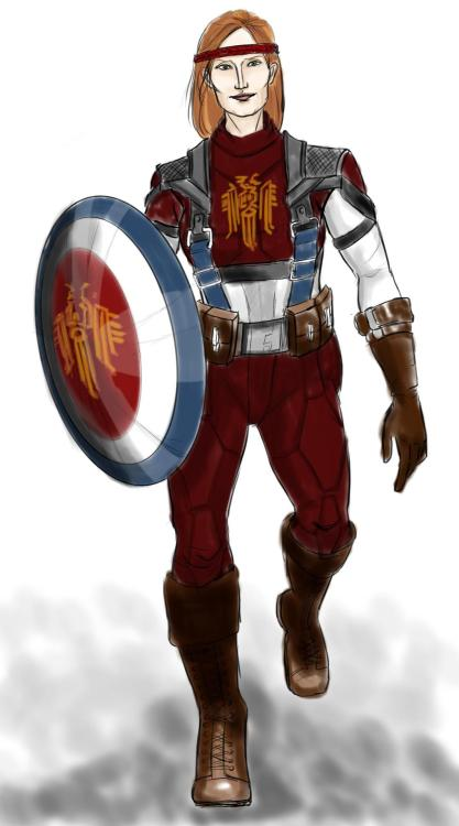 saroux:  foxsketch:  Today's sketch is Aveline in the Captain America outfit, modified to suit her role..um, in modern Kirkwall? I have no clue. But the idea has been in my head for a while crawling to get out. She can join my photoshopped Thor!Hawke and Anders!Loki. Thank you msbarrows for the colours suggestion! (outfit and pose based on this)  I love this more than I can articulate. Dear universe: This is pretty much what I want to be when I grow up.