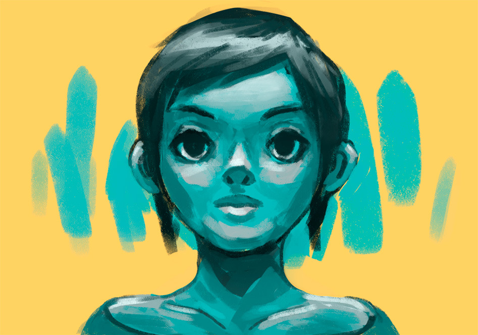 Aqua face! I was trying out a brush I made from this sample