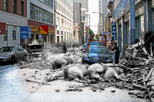 The San Francisco Earthquake: Then & Now by Shawn Clover The earthquake that occurred in 1906 may have seemed to have only lasted 42 seconds, however the repercussions lasted for 4 days and 4 nights as fires spread through the city and destroyed 25,000 buildings on 490 differant blocks. Today photographer Shawn Clover was able to use a vast catalogue of photographs from the 1906 earthquake aftermath to re-create the exact same shots with his modern camera. By combining the two sets of images together he was able to display the past and present side by side in a single image.   Artists: | Website | [via: Visual News]