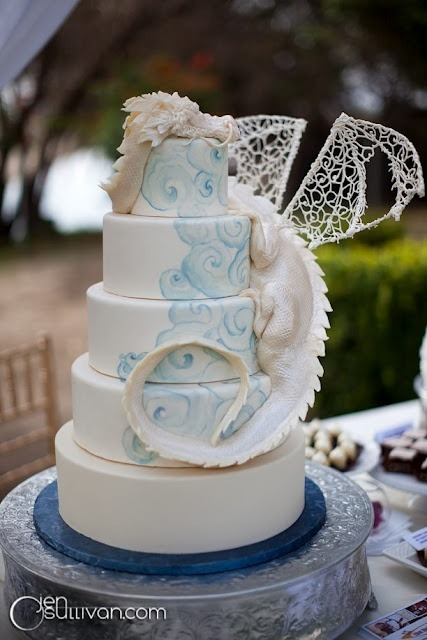 "cybersenshi:  calamitycallaghan:  ""MY WEDDING CAKE IS HAVING A DRAGON ON IT."" ""Boring."" ""It's going to be an actual dragon."" ""…Fair enough!""  So gorgeous!"