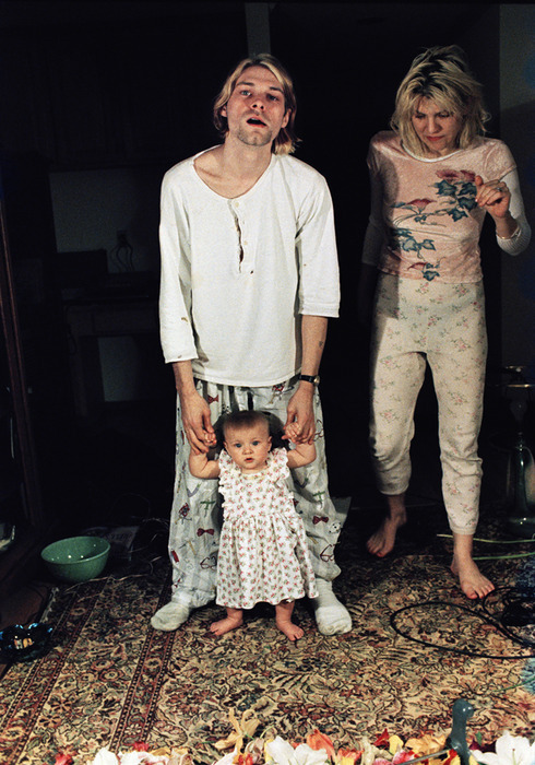 Kurt Cobain and Courtney Love with Frances Bean