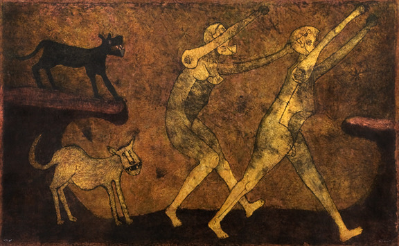 Rufino Tamayo (Mexico, 1899 - 1991) Two People Attacked by Dogs/Dos personas atacados por perros n.d. (1983?) Mixography Robert Gumbiner Foundation Collection P.574