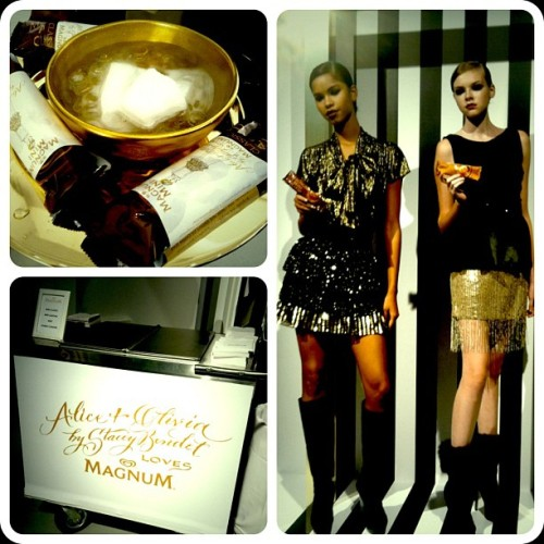 Scenes from the @alice_olivia show.  Mini skirts and Magnum Mini bars, oh my! #magnumscene #aosp13  (Taken with Instagram)