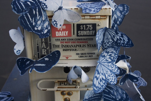 magnetic cyanotype butterfly street installations by Tasha Lewis (via It's Nice That)
