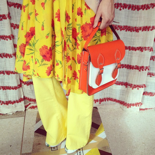 teenvogue:  Bright floral prints and Cambridge Satchels at Chris Benz Photographed by Julia Rubin  secret's out! we collab'ed with one of our favorite designers, chris benz, on a new satchel style for his s/s '13 show! what do you think?