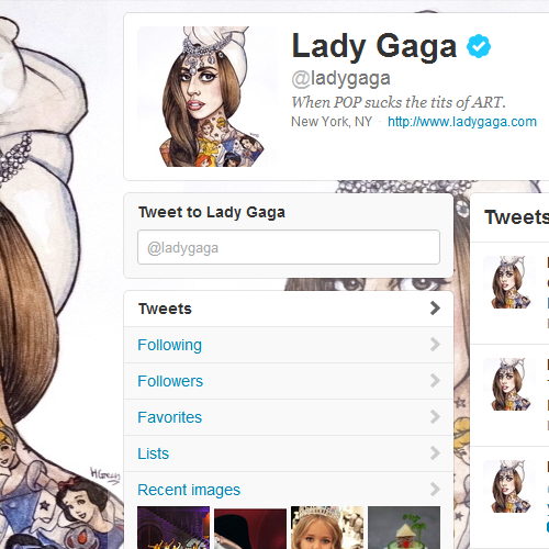 Gaga's new Twitter bio, icon, and background.