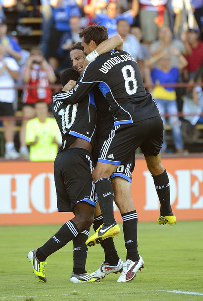 socceralldayeveryday13:  Quakes celebrating