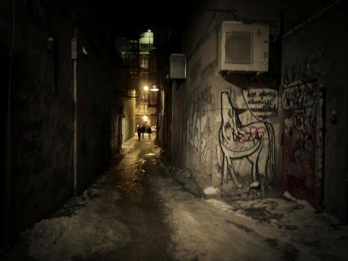 "Lower East Side alley at night. New York City.  I was recently interviewed by the New York City independent press called ""great weather for media"". They used the photo in this post for their upcoming anthology called: It's Animal But Merciful.  The interview is now published on their site. It was the result of an interesting conversation that I had with editor, poet, performer and writer: George Wallace. Here it is:    Through the Lens. An Interview with NYC photographer Vivienne Gucwa  —-  Buy ""Warm Glow of the Sun on a Winter City Night"" Prints here, email me, or ask for help."