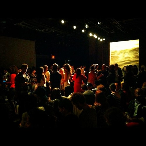 Pre-show fashion crowd for Rolando Santana at Eyebeam Atelier.