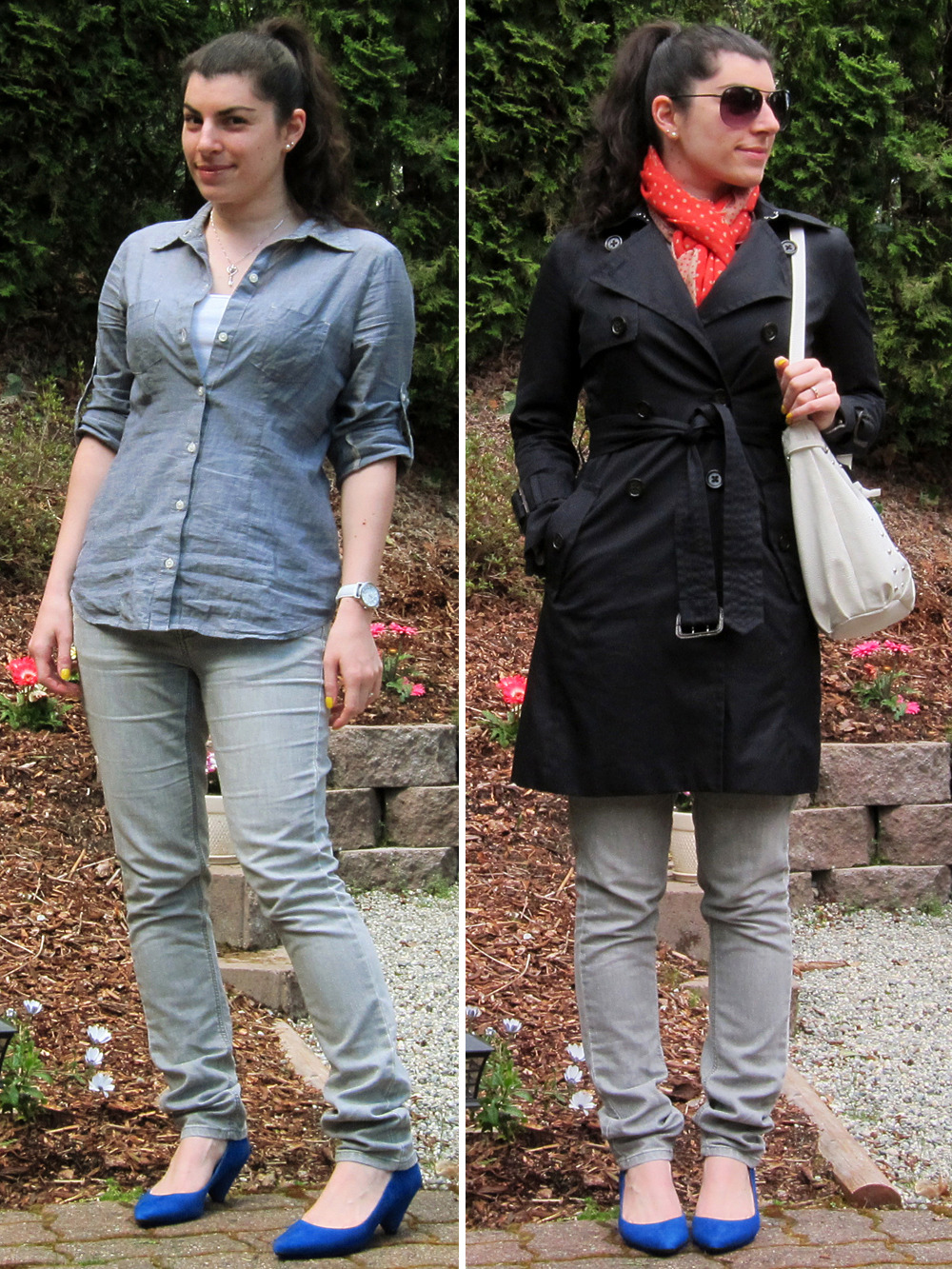 "04.18.2012 [wed] Worn to: work Blouse, jeans, scarf: TargetHeels: Halogen ""Payton"" (via Nordstrom)Pearl earrings: anniversary giftNecklace: giftWatch: Timex (via Target)Trench: Banana Republic (via YLF swap)Purse: Linea Pelle for TargetShades: Forever 21 Thoughts:As much as I'd like to be on Team Wear, I'm not quite there. I don't really ""save"" my clothing for special occasions or anything, I just usually like to wait a while to let an item percolate in my brain before I cut the tags. I did this with most of my new purchases for the season. However! These lovely new pumps (80s cone-heeled bright bright cobalt goodness!) did NOT sit in wait as long as most of my purchases, just a couple weeks while I waffled on which size to keep. They are remarkably comfortable, and I'm reallllyyyyy hoping that Nordstrom will reissue these in a few other shades (they had a bright pink and leopard, neither of which appealed to me). Houndstooth gets my top vote. Behind the outfit:Today is my husband's birthday so I decided to wear something simple, formed around pieces I know he likes, the chambray shirt and the gray jeans, and kept the jewelry small and sentimental. I initially had on my gray houndstooth flats since my husband bats for Team Flats; I know he'd have preferred the flats, but I just couldn't resist switching to the bright blue pumps! Plus they're new! I'm rationalizing that the cobalt ""goes"" with the blue chambray, so… it's all still very matchy-matchy, so that keeps it simple still, right?? ^^ Today was back to being cold enough for a coat, so I chose my coral scarf to add an additional bit of brightness to the outerwear. In retrospect, I should have worn a different purse; normally I like the high contrast, but with the two brights (coral scarf, cobalt heels) it felt a bit off. If I did this outfit over again, I'd instead go with my gold mini-satchel which would also pick up nicely on my bright yellow nails."