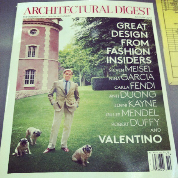 Just valentino on the cover of architectural digest. Three pugs. No big deal. (Taken with Instagram)