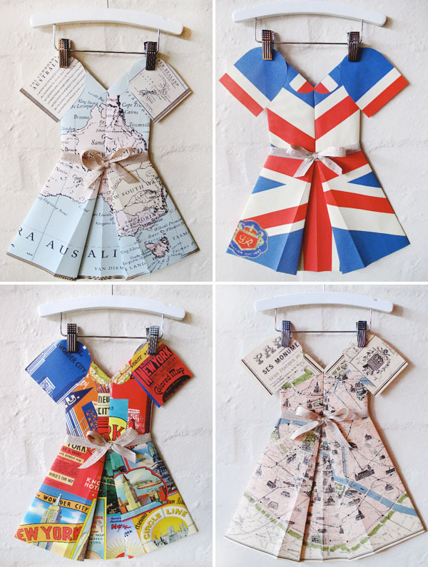 folded paper dresses via marcelle crosby