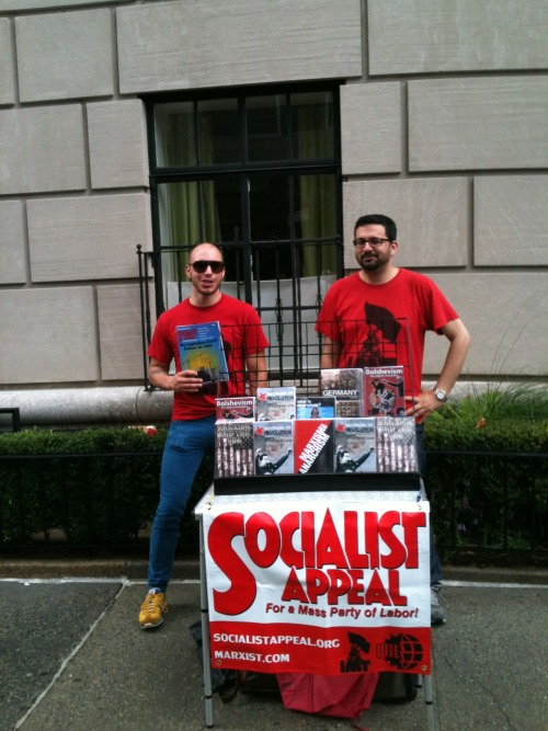 On Saturday, September 8, 2012, 6 comrades form the NYC and NJ branches intervened in the NYC Labor Day parade. This is now held on the Saturday following Labor Day. It was a very rainy day, so we did not know if we could even set up the table, but we did get a short break in the weather to do so.